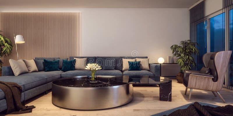 Diseño interior moderno de sala de estar italiana del estilo, escena de la noche imagenes de archivo