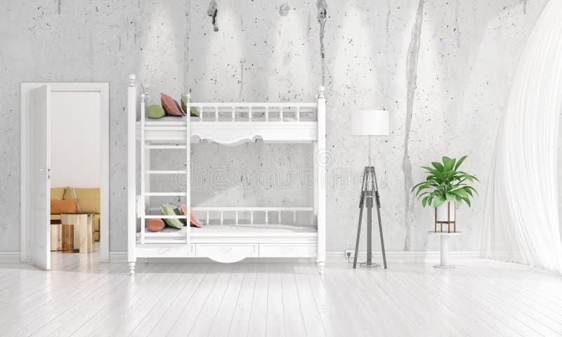 Diseño interior moderno de sitio del cuarto de niños en voga con la planta y de copyspace en el arreglo horizontal representación imágenes de archivo libres de regalías
