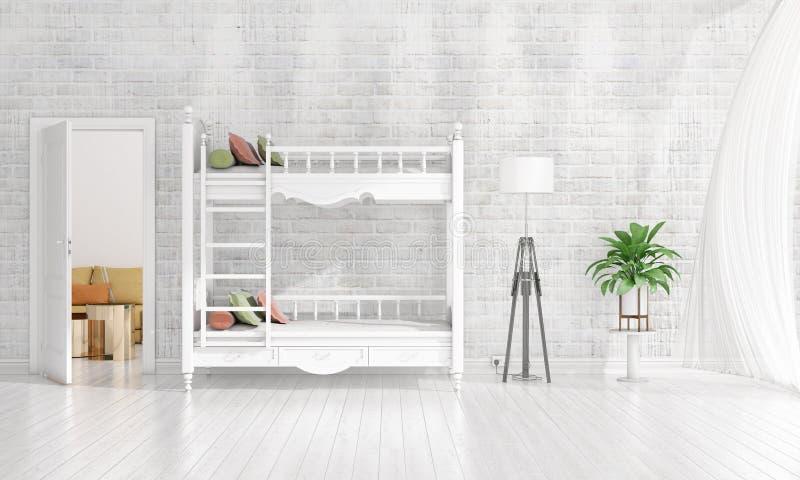 Diseño interior moderno de sitio del cuarto de niños en voga con la planta y de copyspace en el arreglo horizontal representación fotos de archivo