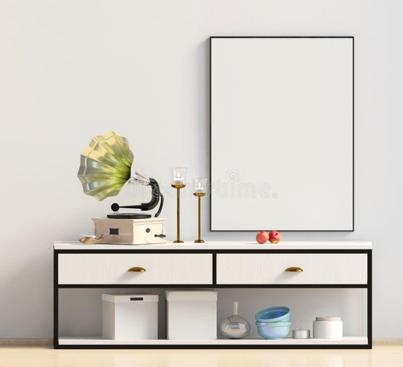 Diseño interior moderno en estilo escandinavo Mofa encima del cartel 3d stock de ilustración