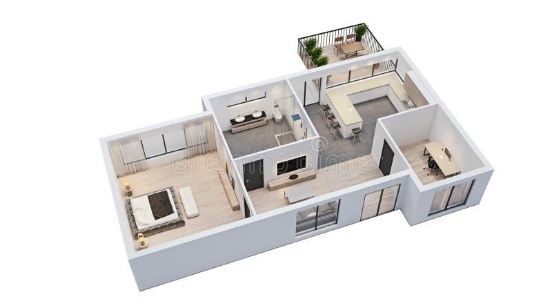 Diseño interior moderno, plan de piso aislado con las paredes blancas, modelo del apartamento, casa, muebles ilustración del vector