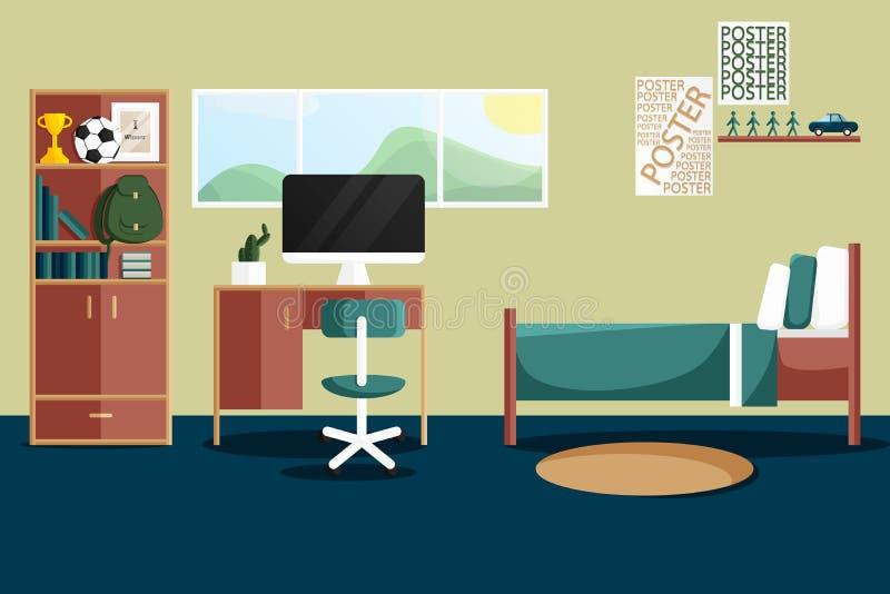 Diseño interior plano del vector de solo dormitorio libre illustration