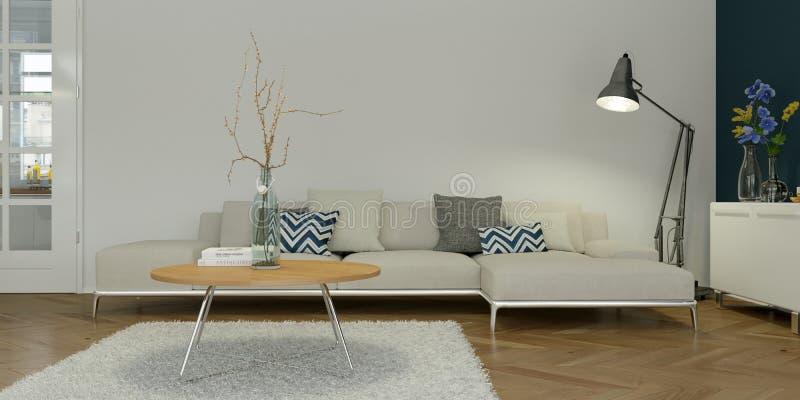 Diseño interior plano skandinavian brillante moderno stock de ilustración