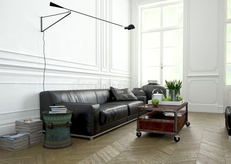 Diseño interior, sala de estar representación 3d fotos de archivo libres de regalías