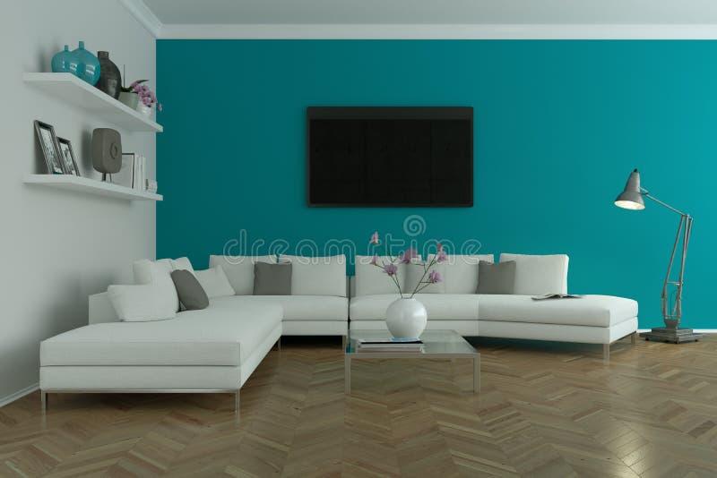 Diseño interior skandinavian brillante moderno con el sofá blanco y la pared azul fotos de archivo libres de regalías