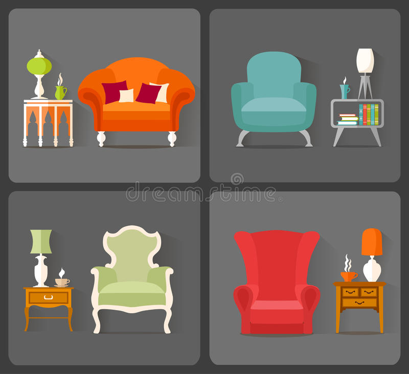 Diseño interior Vector los iconos con la imagen de los muebles en diversos estilos ilustración del vector
