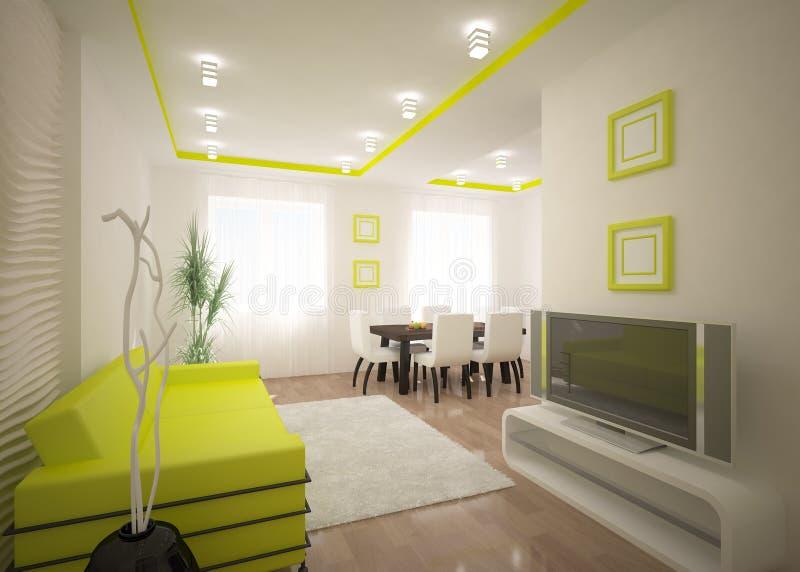 Diseño interior verde ilustración del vector
