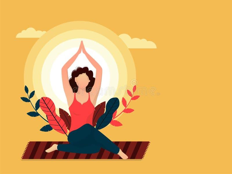 Diseño internacional del jefe o de la bandera del día de la yoga con el ejemplo de la mujer hermosa que hace yoga stock de ilustración