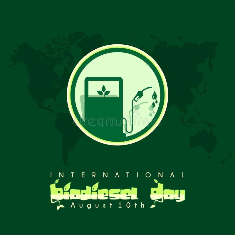 Diseño internacional del vector del día del biodiesel el 10 de agosto stock de ilustración