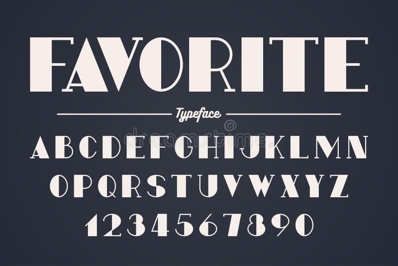 Diseño intrépido decorativo de la fuente del vector de la vanguardia, alfabeto stock de ilustración