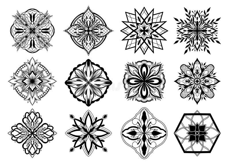 Diseño islámico del ornamento, adorno persa Color gráfico negro en el fondo blanco Elementos redondos isl?micos del modelo del Ra ilustración del vector