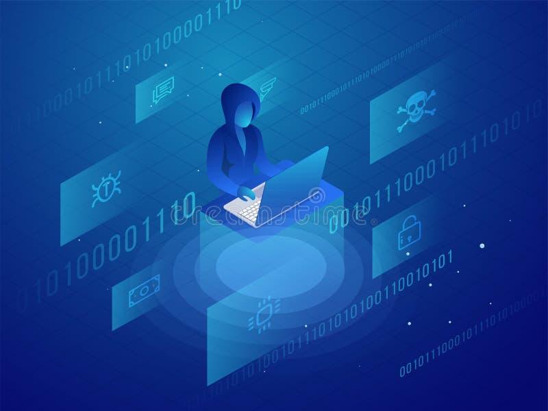 Diseño isométrico con el pirata informático que usa el ordenador portátil para el prot personal de los datos ilustración del vector