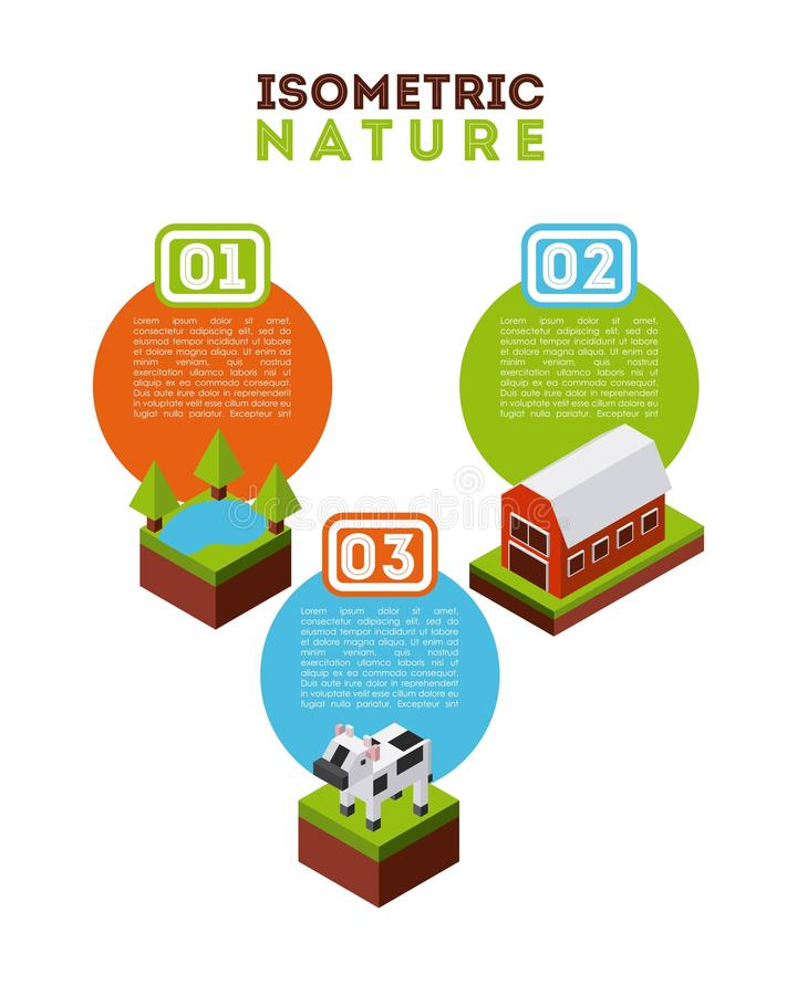 diseño isométrico de la naturaleza stock de ilustración