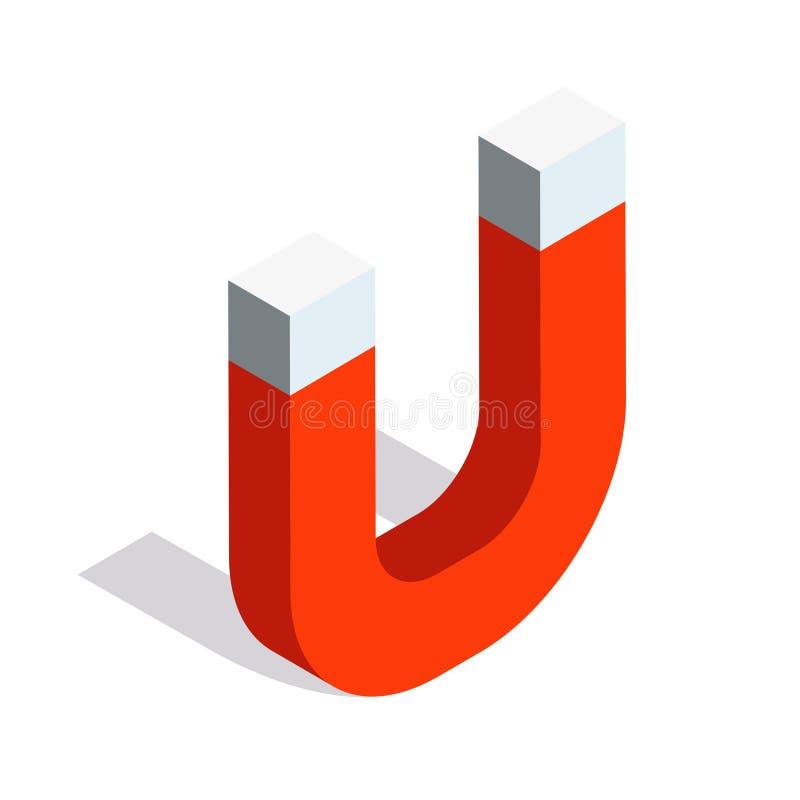 Diseño isométrico del icono del vector del imán de herradura Electroimán 3d libre illustration