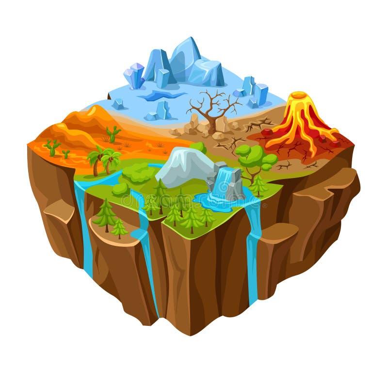 Diseño isométrico del juego de ordenador de tierra del paisaje ilustración del vector