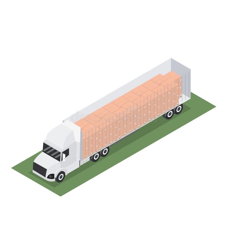 Diseño isométrico del remolque con el envase para la exportación con la plataforma stock de ilustración