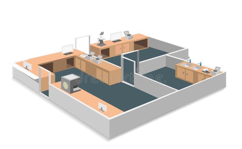Diseño isométrico del sitio del laboratorio stock de ilustración