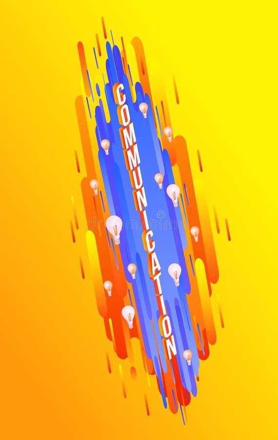 Diseño isométrico del texto de la comunicación en fondo de la pendiente con formas geométricas abstractas y bombillas ilustración del vector