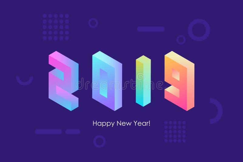 Diseño isométrico del texto de la Feliz Año Nuevo 2019 con las pendientes de neón brillantes de moda para los saludos y las invit libre illustration