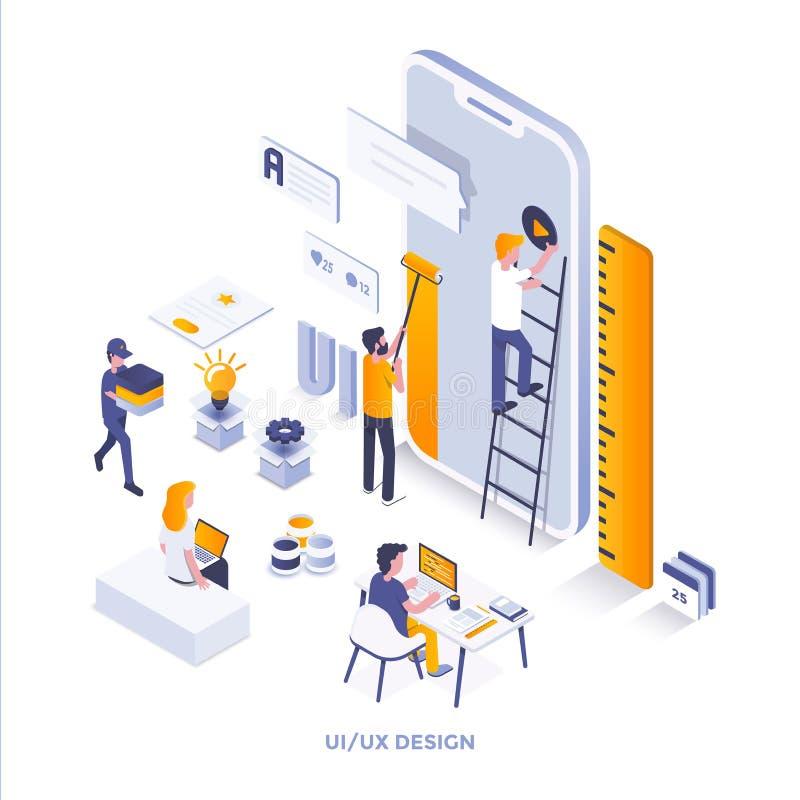 Diseño isométrico moderno del ejemplo del color plano - Ui y Ux Desi stock de ilustración