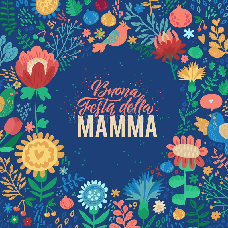 Dise?o italiano feliz del d?a de madres en fondo floral Ilustraci?n del vector r modelo stock de ilustración