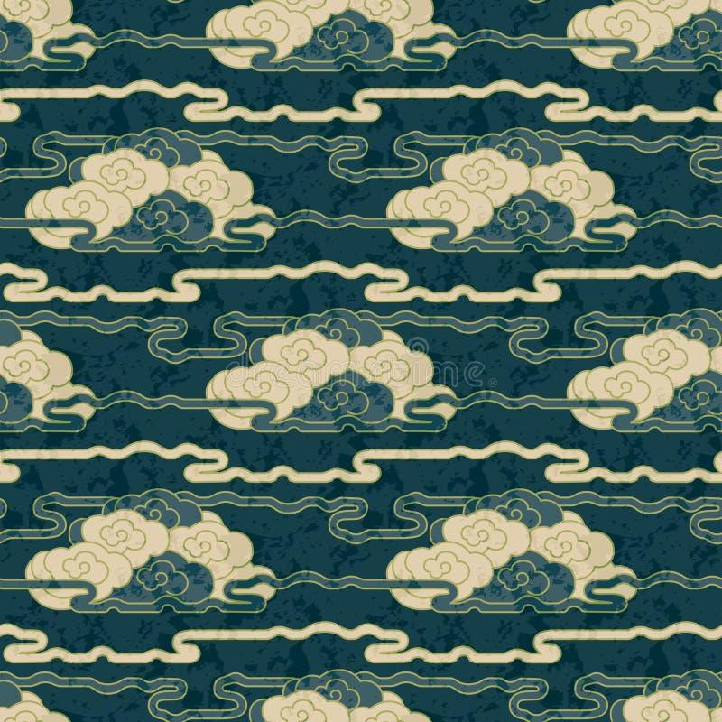 Diseño japonés dibujado mano inconsútil del modelo de la nube del grunge del vector libre illustration
