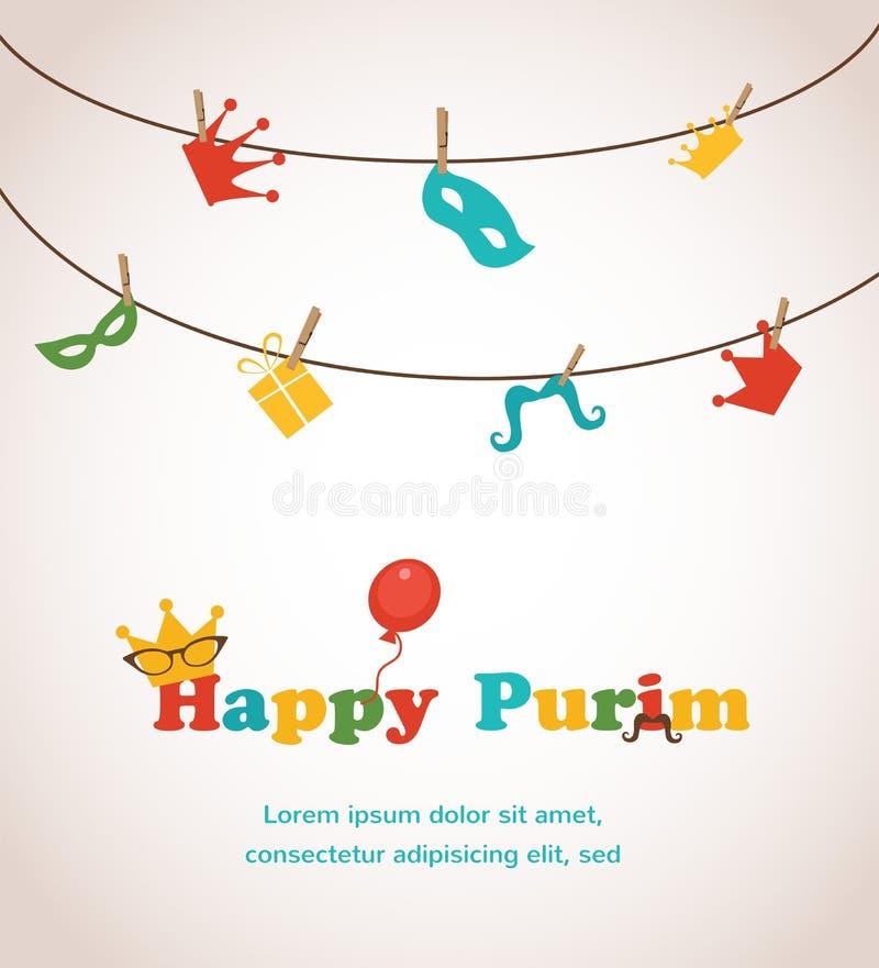 Diseño judío de la tarjeta de felicitación de Purim del día de fiesta fotografía de archivo libre de regalías