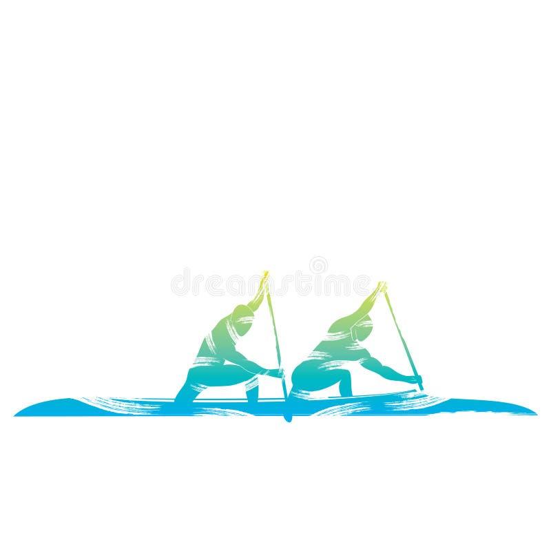 Diseño Kayaking del deporte stock de ilustración
