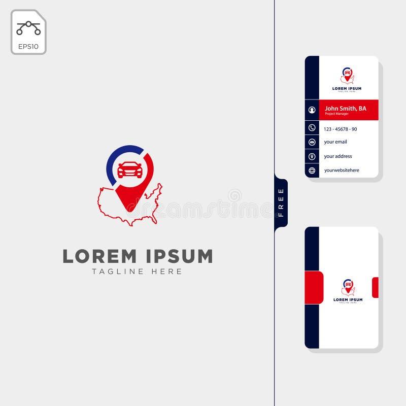 diseño libre de la tarjeta de visita del viaje del navegador del logotipo de la plantilla del ejemplo americano del vector stock de ilustración
