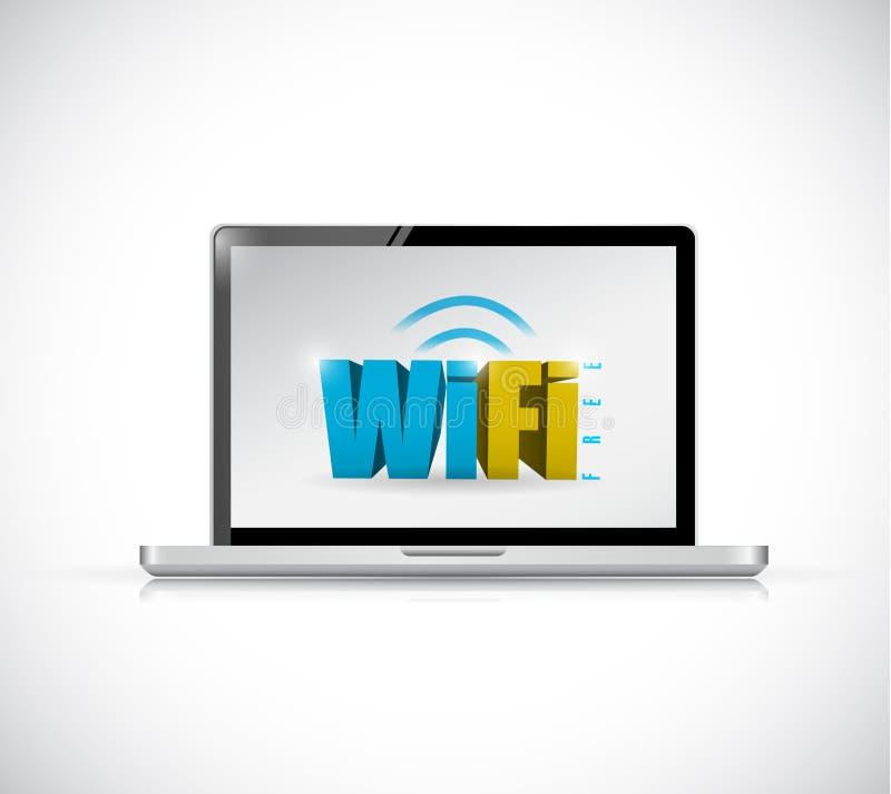 Diseño libre del ejemplo de la conexión del wifi del ordenador portátil stock de ilustración