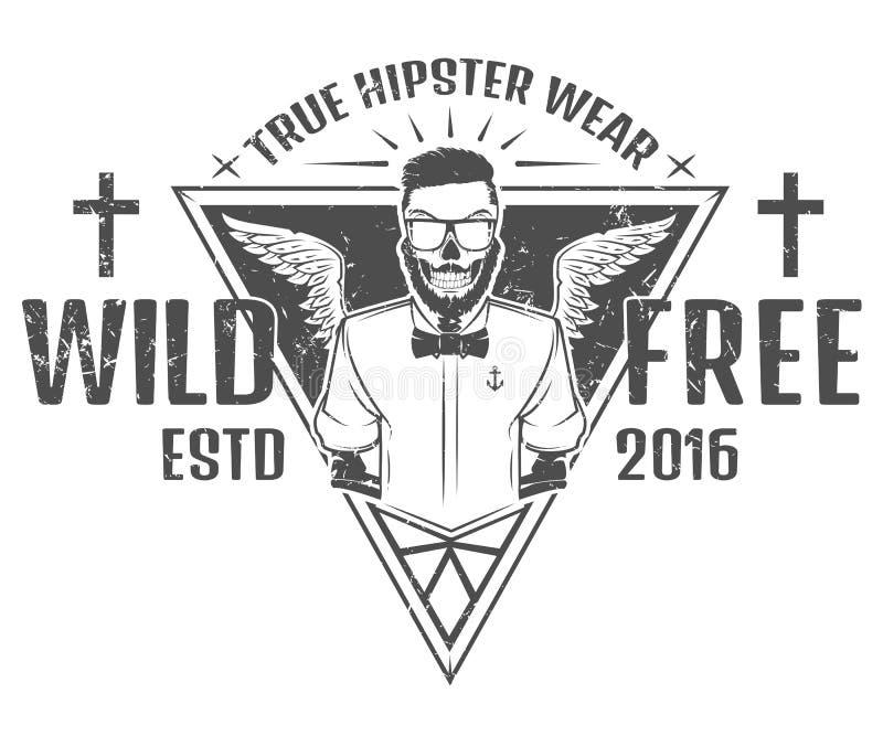 Diseño libre y salvaje del estilo del inconformista de impresión para las camisetas stock de ilustración