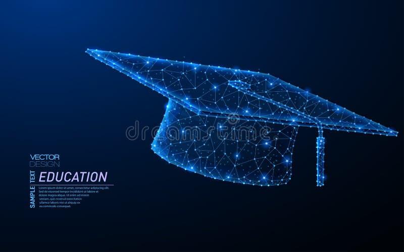 Dise?o ligero poligonal del extracto de casquillo de la graduaci?n ilustración del vector