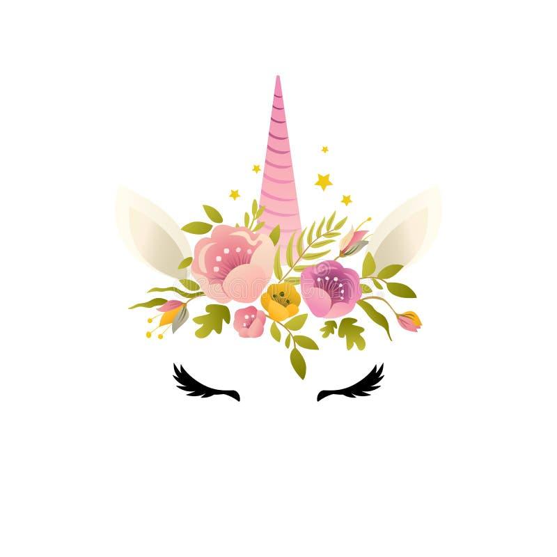 Diseño lindo de la tarjeta y de la camiseta del ejemplo del unicornio stock de ilustración