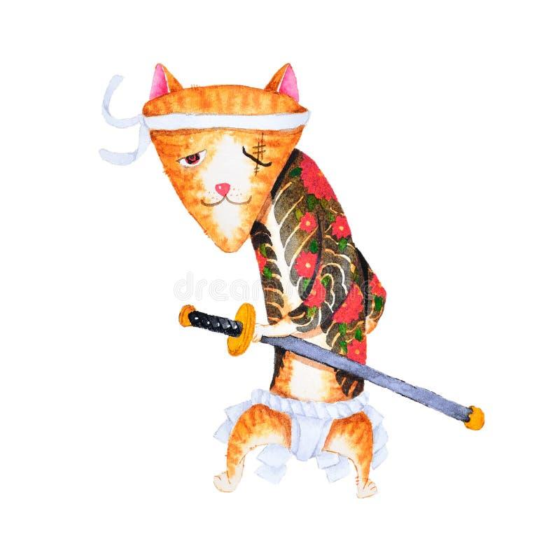 Diseño lindo del arte de la historieta del gato de la pintura de la acuarela de cuadrilla japonesa de Yakuza libre illustration