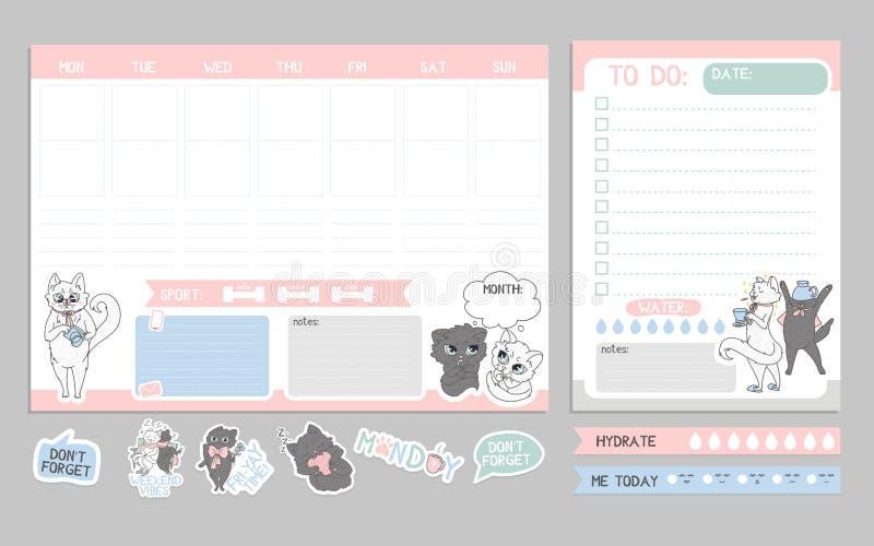 Diseño lindo del planificador semanal con los gatos Lista de lío con la plantilla de los gatos libre illustration