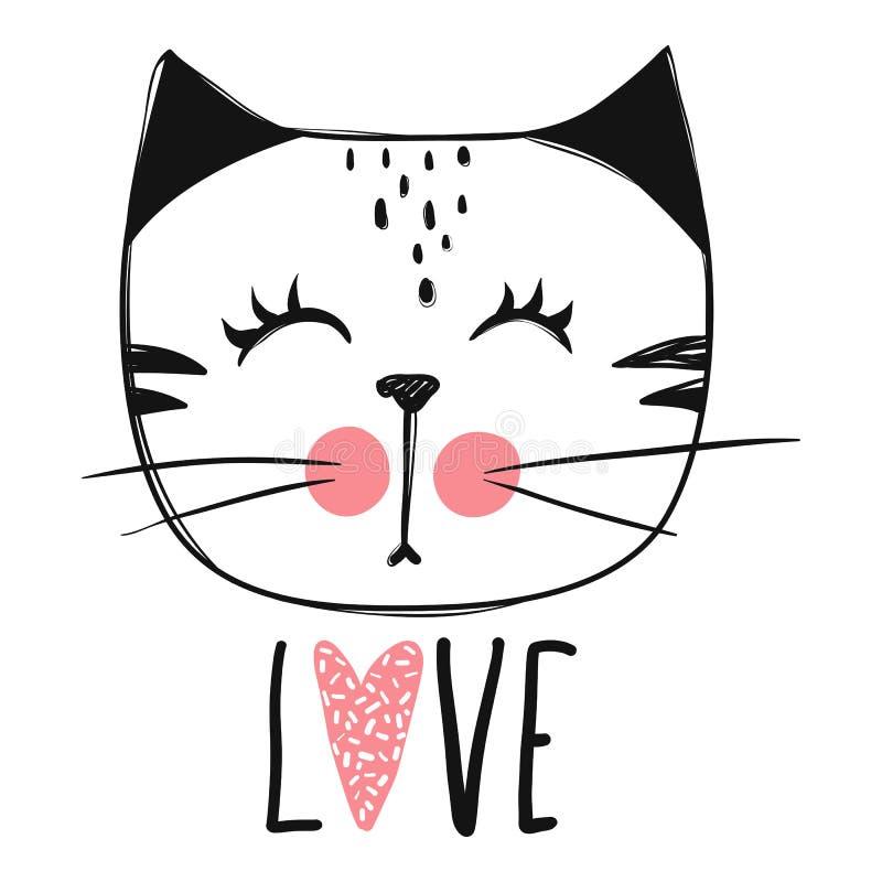 Diseño lindo del vector del gato Gatitos femeninos Cara del ` s del gato de la moda stock de ilustración