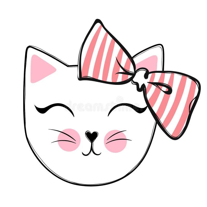 Diseño lindo del vector del gato Gatitos femeninos Cara del ` s del gato de la moda libre illustration