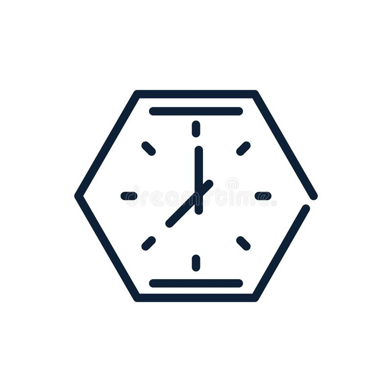 Diseño lineal del reloj de polígono analógico de tiempo ilustración del vector