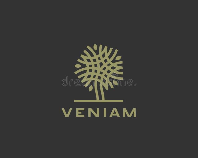 Diseño linear abstracto del icono del logotipo del árbol del vector Símbolo sólido superior de lujo universal ilustración del vector