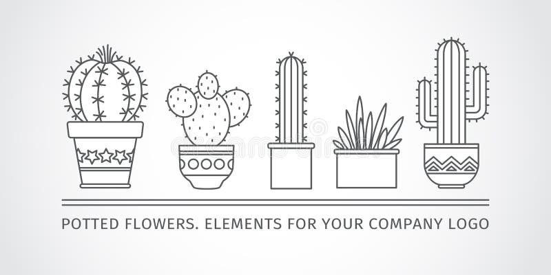Diseño linear, cactus en conserva elementos de un logotipo corporativo Vector libre illustration
