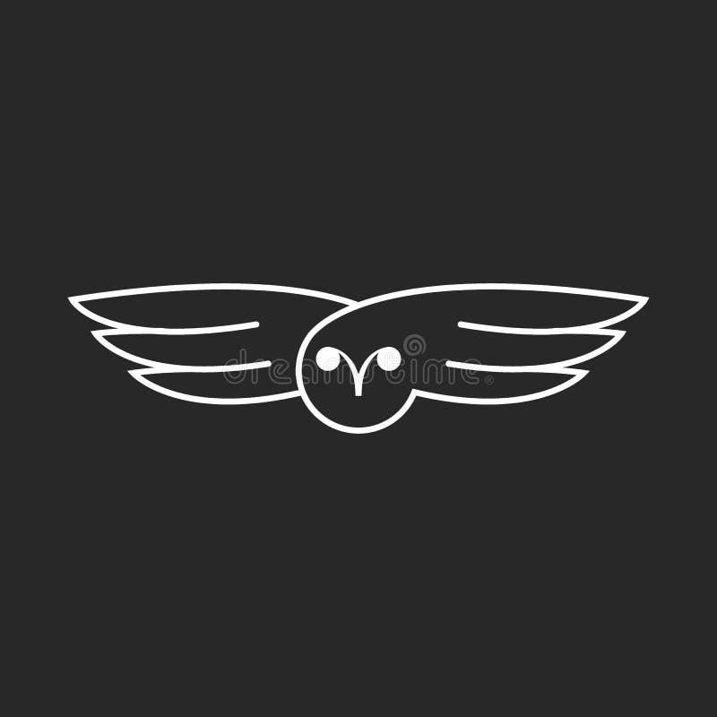 Diseño linear creativo del logotipo del búho que vuela, emblema minimalista del inconformista del estilo de las alas del pájaro q stock de ilustración