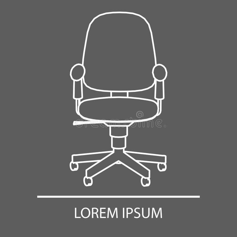 Diseño linear de la silla de la oficina Silla de la oficina del logotipo El emblema de una silla de la oficina Logotipo de la com ilustración del vector