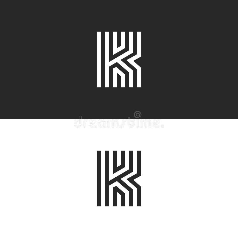 Diseño linear del monograma mínimo del logotipo de la letra K Líneas finas blancos y negros creativas exquisitas emblema inicial  ilustración del vector