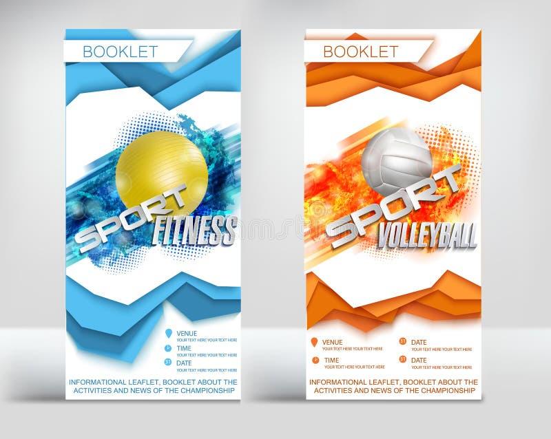 Diseño listo de la plantilla de los aviadores, nuevas capas volumétricas del estilo de voleibol de los deportes y aptitud Ilustra libre illustration