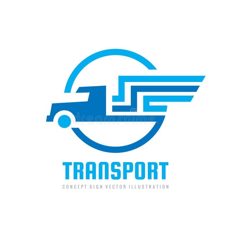Diseño logístico del logotipo del transporte Muestra del coche camión Símbolo del cargo de la entrega ilustración del vector