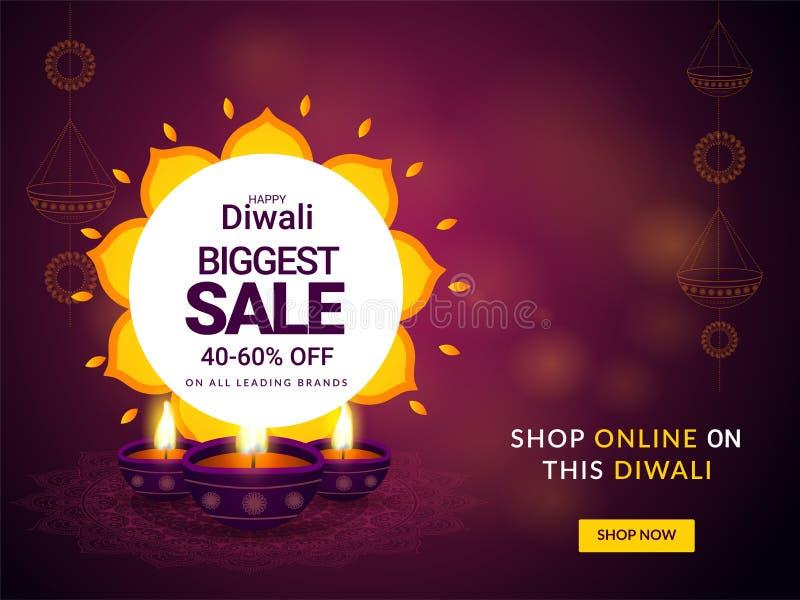 Diseño más grande feliz del cartel o de la bandera de la venta de Diwali con 40-60% di stock de ilustración