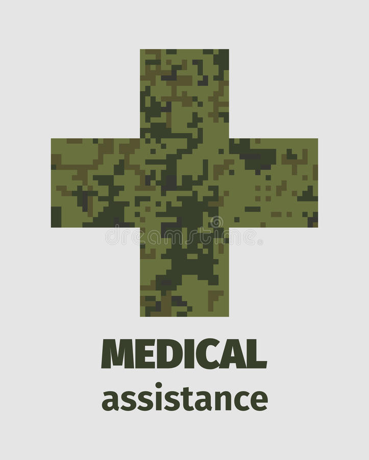 Diseño médico del cartel de la ayuda con el terraplén cruzado del camuflaje libre illustration