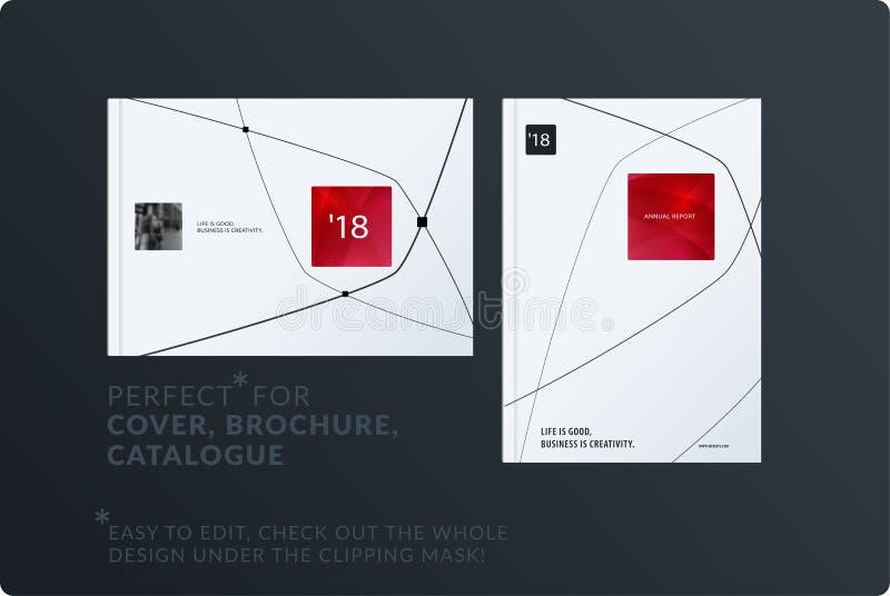Diseño mínimo creativo de sistema del folleto, informe anual abstracto, cubierta horizontal, aviador en A4 libre illustration