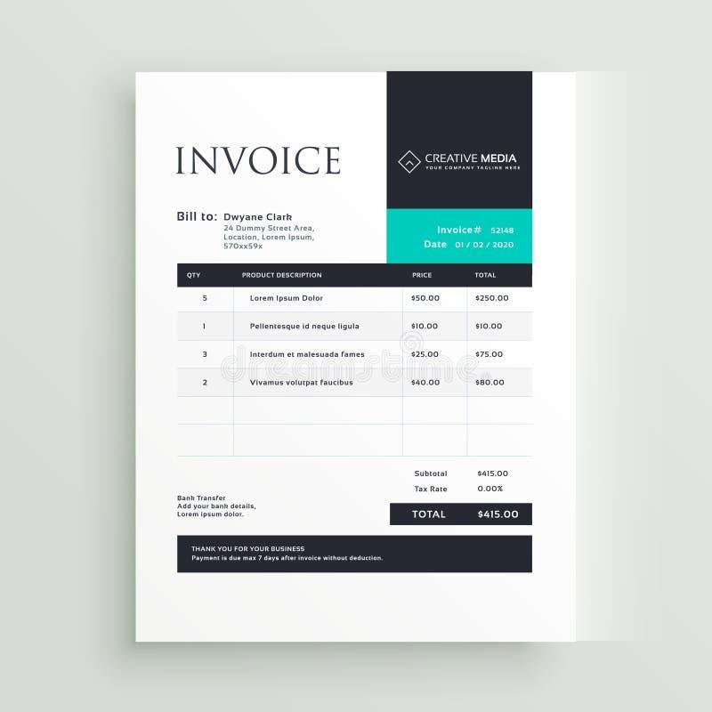 Diseño mínimo de la plantilla de la factura del negocio ilustración del vector