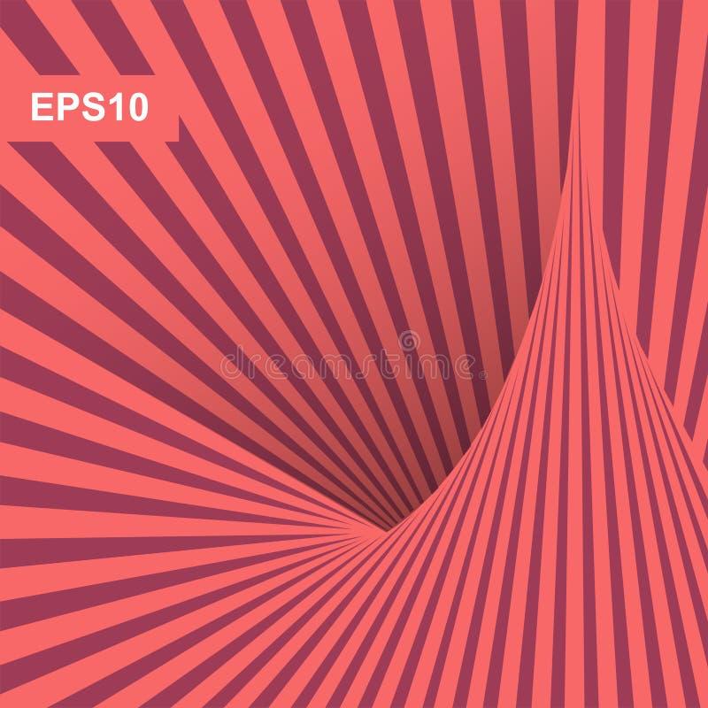 Diseño mínimo de las cubiertas Fondo rayado abstracto Arte óptico ilustración del vector 3d  ilustración del vector